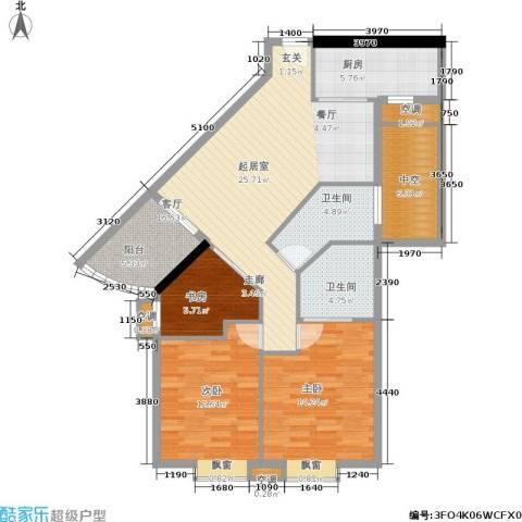麓湖御景3室0厅2卫1厨123.00㎡户型图