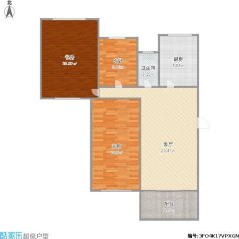 新城逸境3室1厅1卫1厨132.00㎡户型图