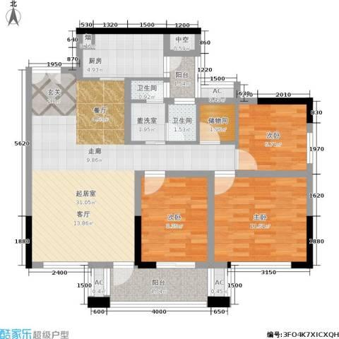 和庄3室0厅2卫1厨106.00㎡户型图