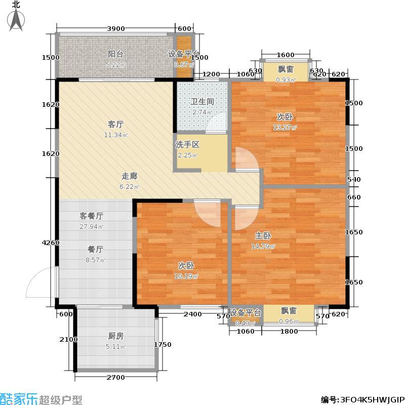 龙瑞尚苑91.60㎡3栋 A户型3室2厅1卫