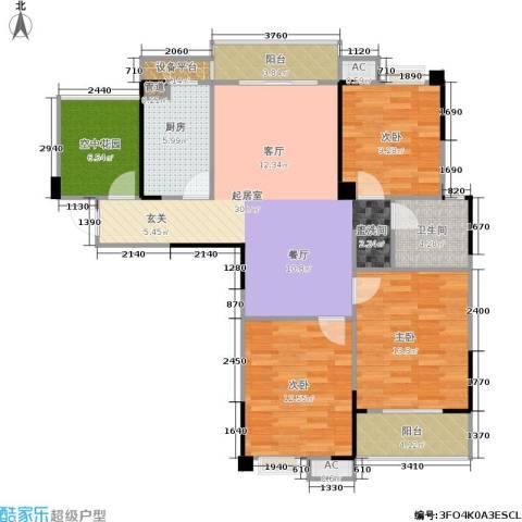 东方福郡3室0厅1卫1厨114.00㎡户型图