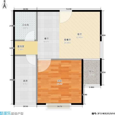 颐美会现代城1室1厅1卫1厨50.00㎡户型图