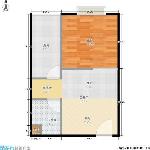 颐美会现代城1室1厅1卫1厨40.00㎡户型图