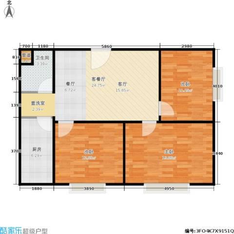 颐美会现代城3室1厅1卫1厨80.00㎡户型图