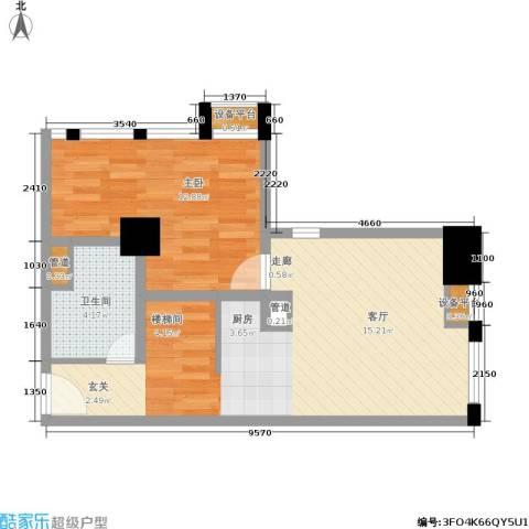 壹加壹空间1室0厅1卫0厨65.00㎡户型图