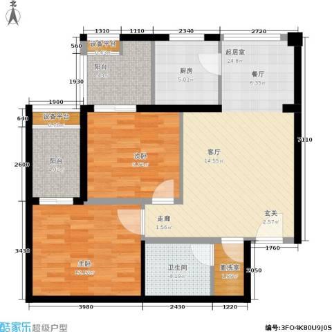 玫瑰坊2室0厅1卫1厨77.00㎡户型图