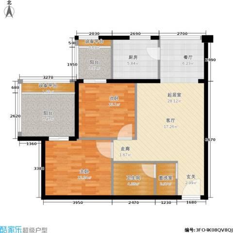 玫瑰坊2室0厅1卫1厨85.00㎡户型图