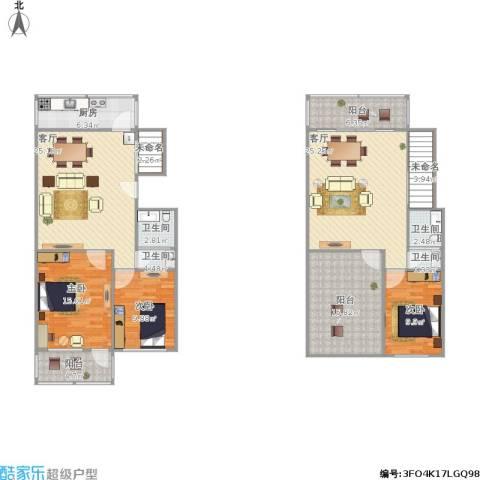 玉函新南区3室2厅4卫1厨179.00㎡户型图