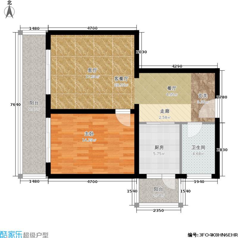 金祥嘉园74.92㎡一室二厅一卫户型