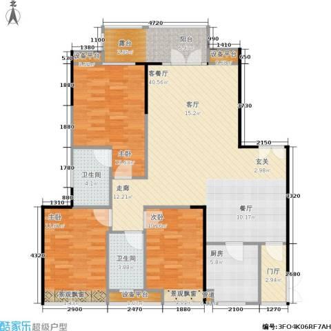 江南华府3室1厅2卫1厨120.00㎡户型图