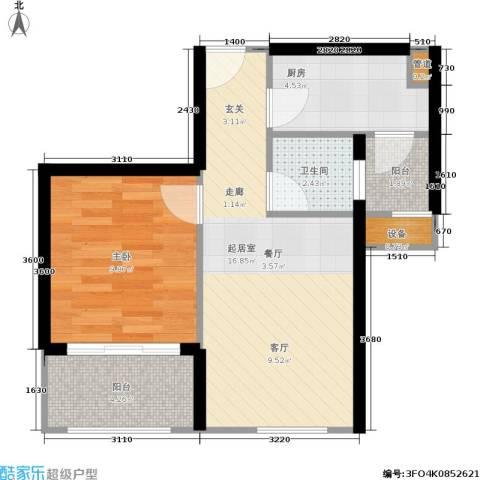 广电江湾新城1室0厅1卫1厨50.00㎡户型图