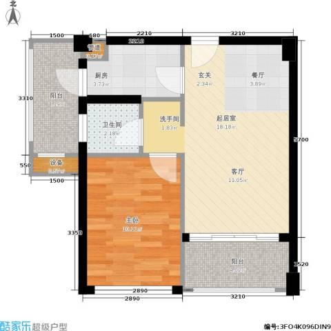 广电江湾新城1室0厅1卫1厨57.00㎡户型图