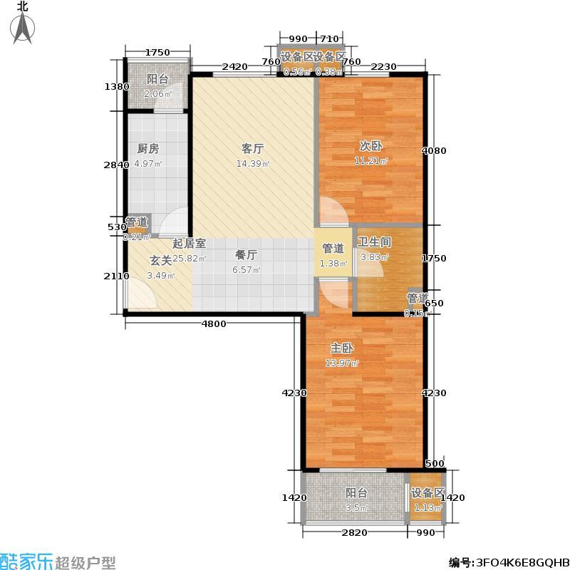 旗胜家园90.00㎡D26-3#,4#C两室两厅一卫户型