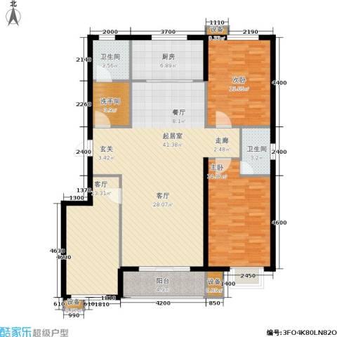 北里洋房2室1厅2卫1厨139.00㎡户型图