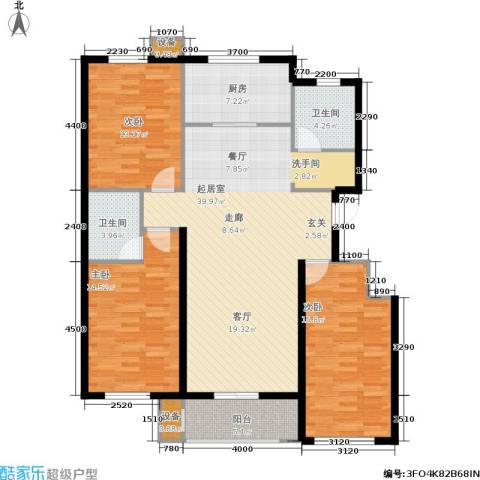 北里洋房3室0厅2卫1厨140.00㎡户型图