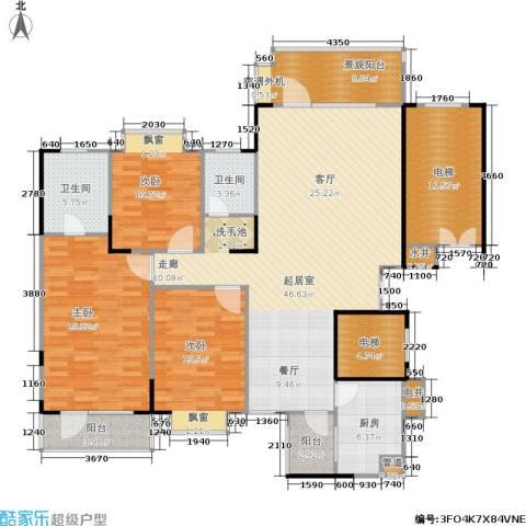 岳麓现代城3室0厅2卫1厨151.00㎡户型图