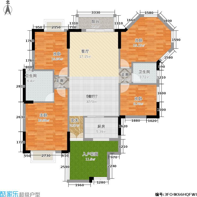 涉外国际公馆128.00㎡D1户型 三房两厅两卫户型3室2厅2卫