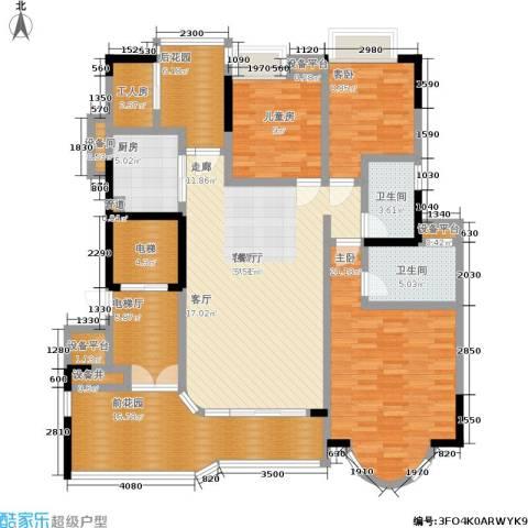 珠江御景湾3室1厅2卫1厨138.00㎡户型图