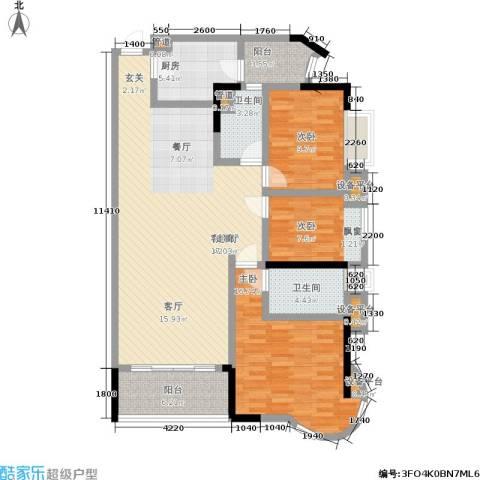 珠江御景湾3室1厅2卫1厨146.00㎡户型图