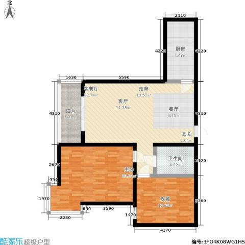 桐树湾2室1厅1卫1厨95.01㎡户型图