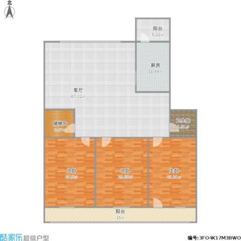 金山花园3室1厅1卫1厨242.00㎡户型图