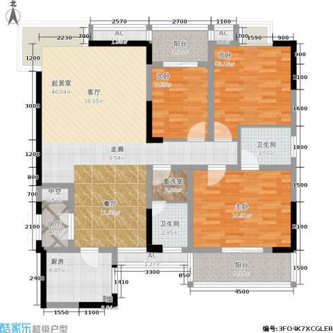 书院观邸3室0厅2卫1厨128.00㎡户型图