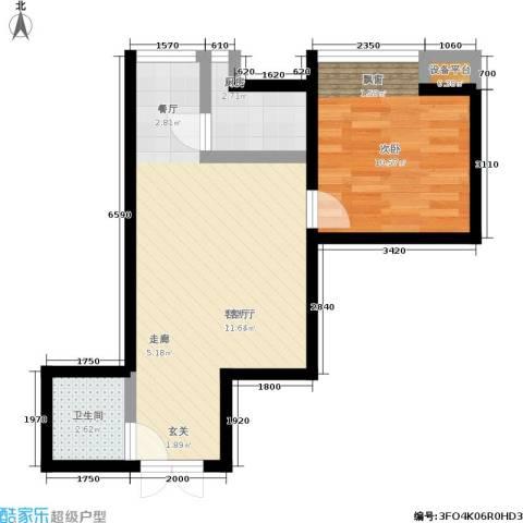 高新枫尚1室1厅1卫1厨46.00㎡户型图