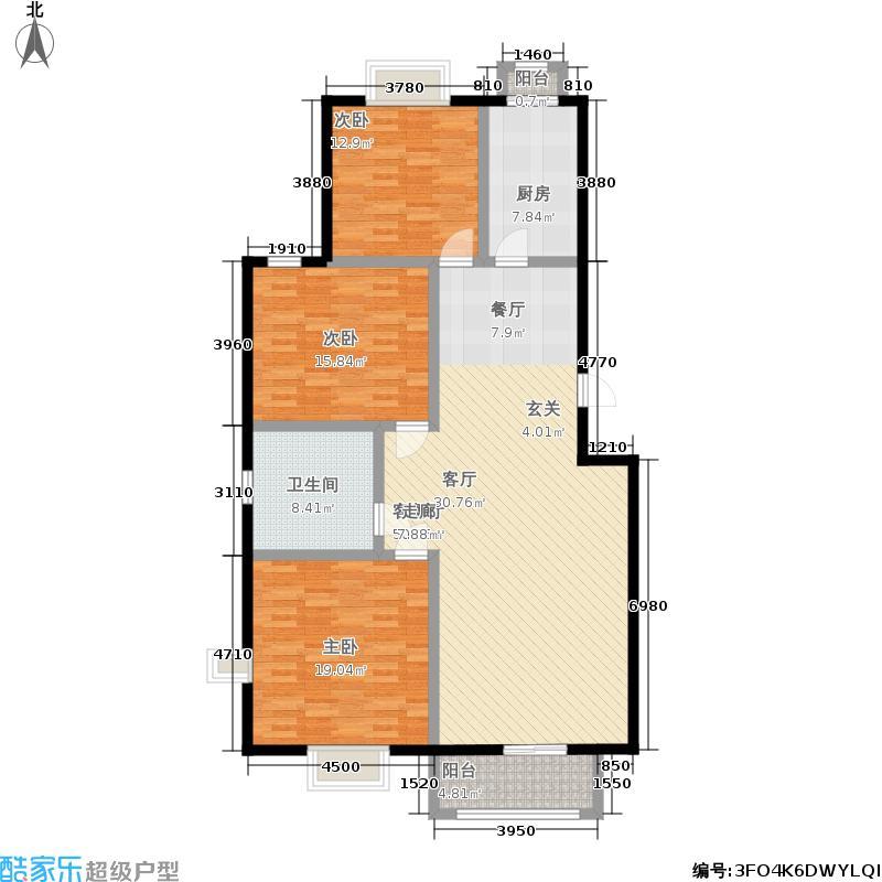 漫香林溪129.05㎡6号楼一层一单元102室户型3室2厅1卫