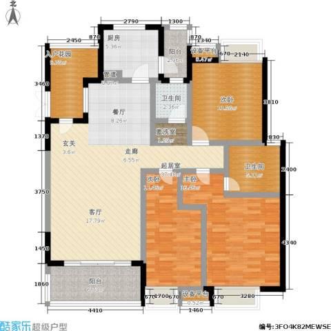 卧龙湾3室0厅2卫1厨124.00㎡户型图