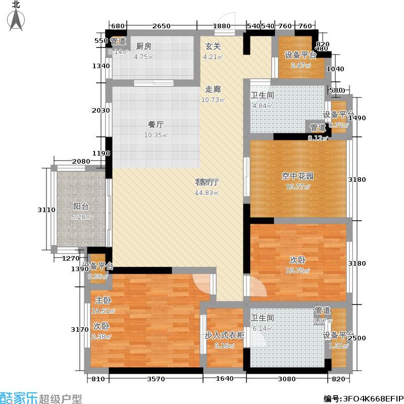 万科城广场三房两厅两卫户型3室2厅2卫