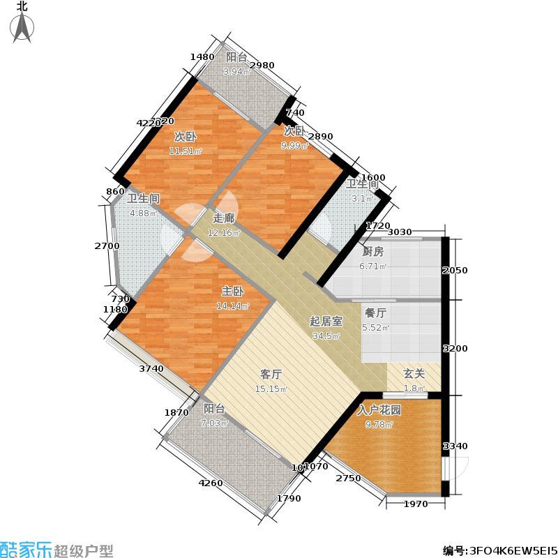 福乐香江锦城125.08㎡3栋-01户型三房两厅两卫南北双向阳台入户花园户型3室2厅2卫