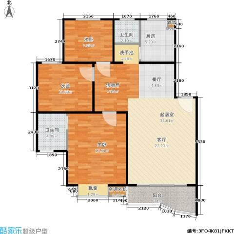 航发锦绣家园3室0厅2卫1厨98.00㎡户型图