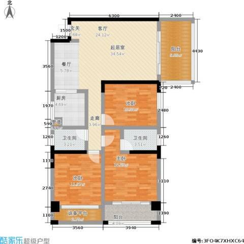 星蓝湾3室0厅2卫1厨128.00㎡户型图