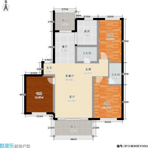 富都丽景3室1厅2卫1厨167.00㎡户型图