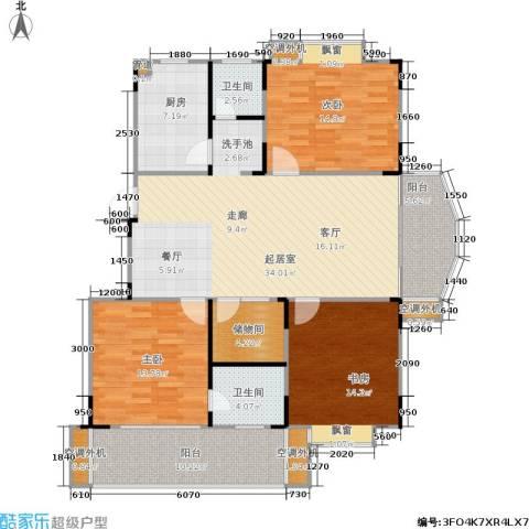 绿洲景芳3室0厅2卫1厨113.62㎡户型图