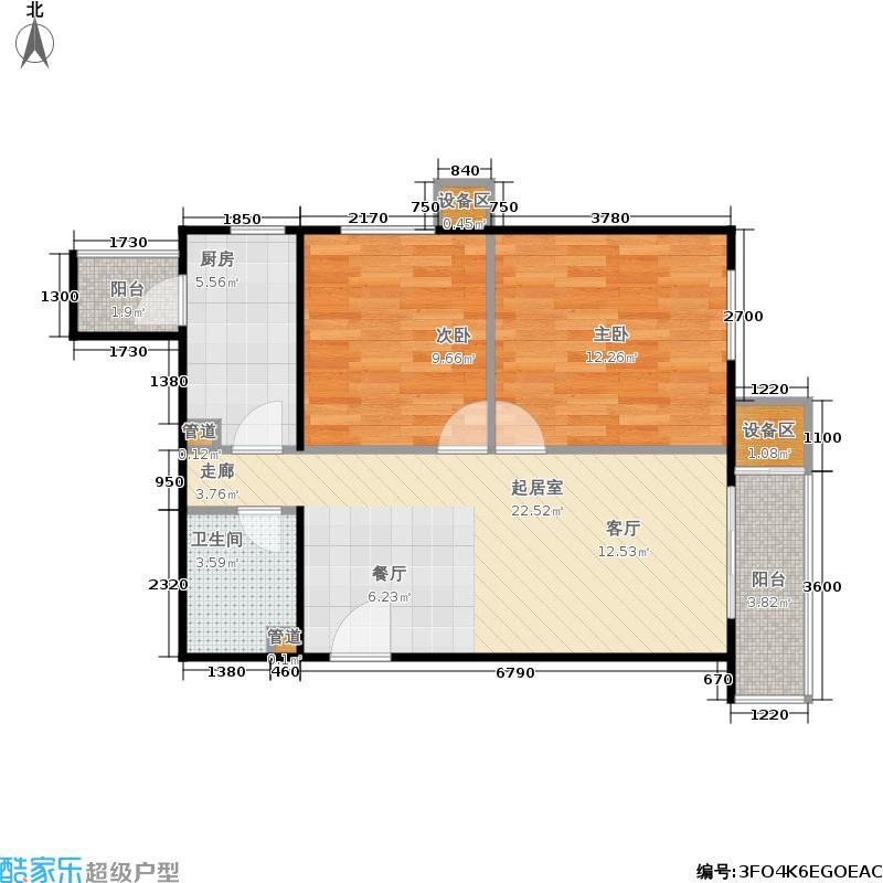 旗胜家园81.00㎡D20-2#,6#M两室两厅一卫户型
