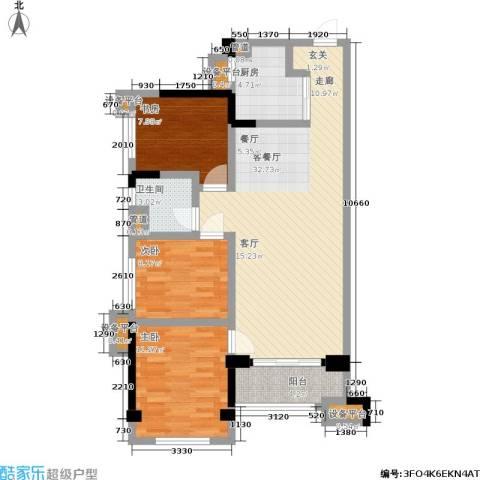 万科城3室1厅1卫1厨90.00㎡户型图