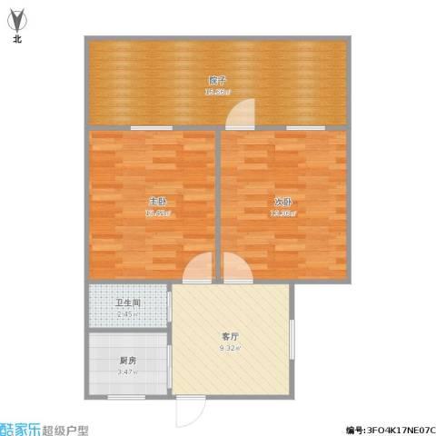 采荷一区2室1厅1卫1厨78.00㎡户型图