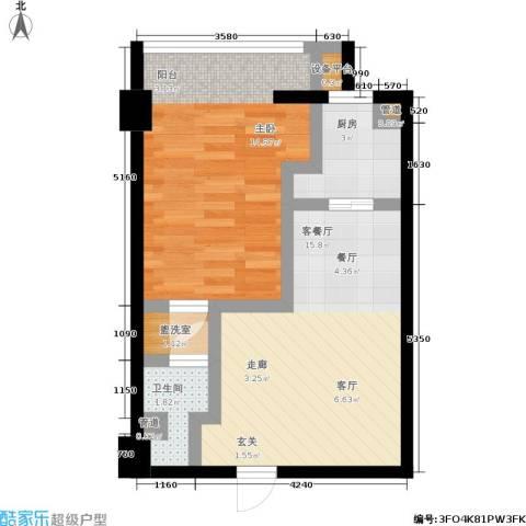 印象天心1室1厅1卫1厨56.00㎡户型图