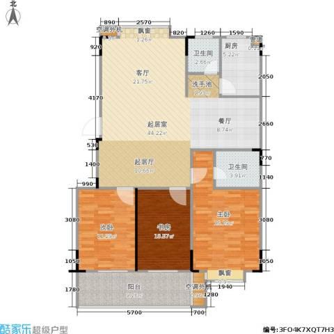 绿洲景芳3室0厅2卫1厨104.70㎡户型图