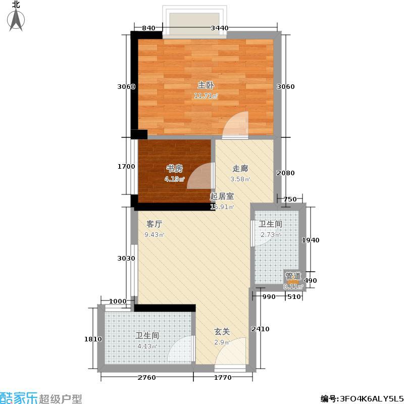 宇洋西海广场49.36㎡H户型1室1厅1卫