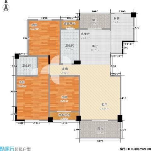 统建水岸人家3室1厅2卫1厨110.00㎡户型图