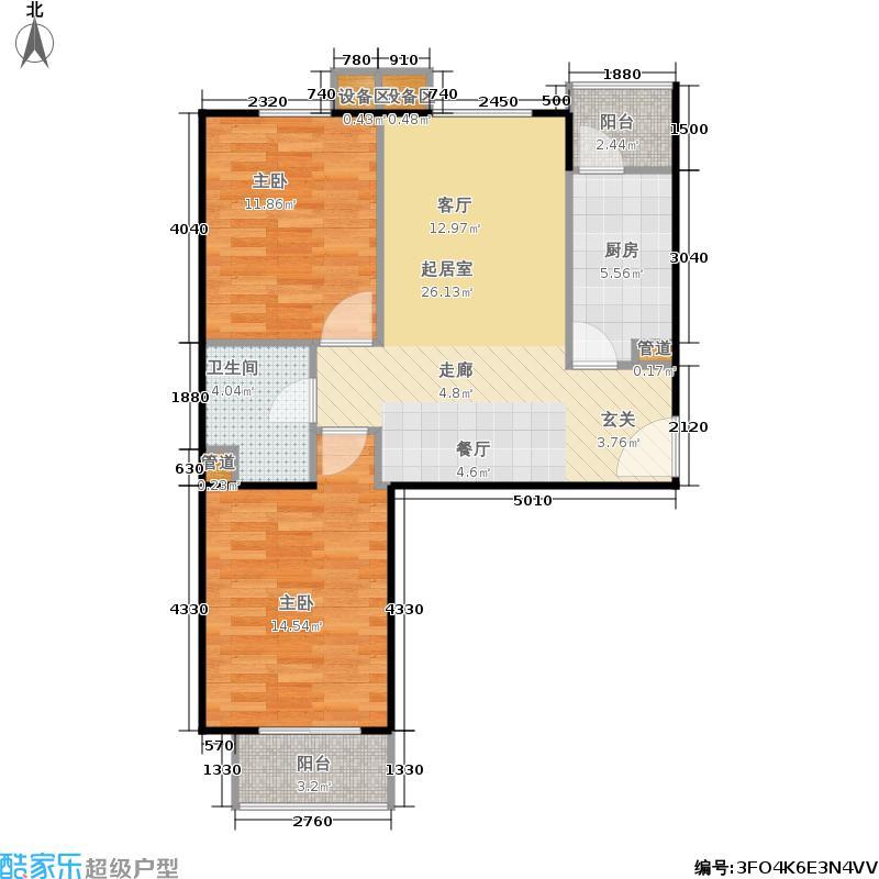 旗胜家园87.00㎡D20-5#,D26-2#,5#R两室两厅一卫户型