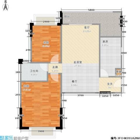 广电江湾新城2室0厅1卫1厨96.00㎡户型图