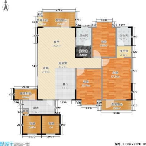 岳麓现代城3室0厅2卫1厨119.00㎡户型图