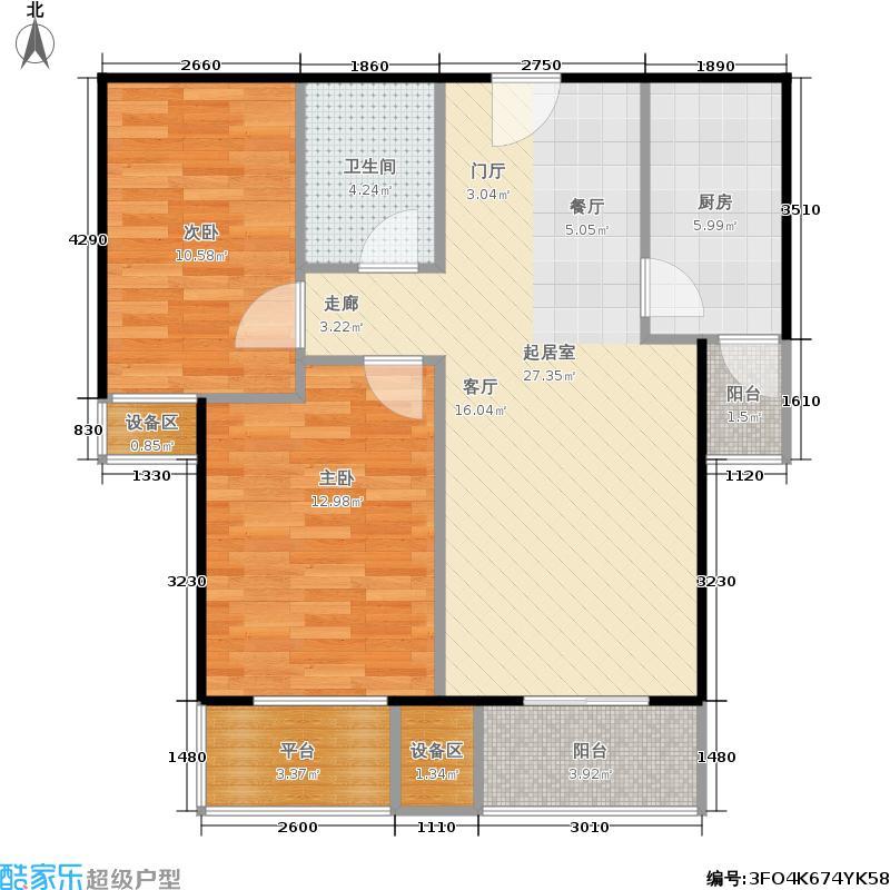旗胜家园89.00㎡D20-1#,3#,D26-1#B两室两厅一卫户型