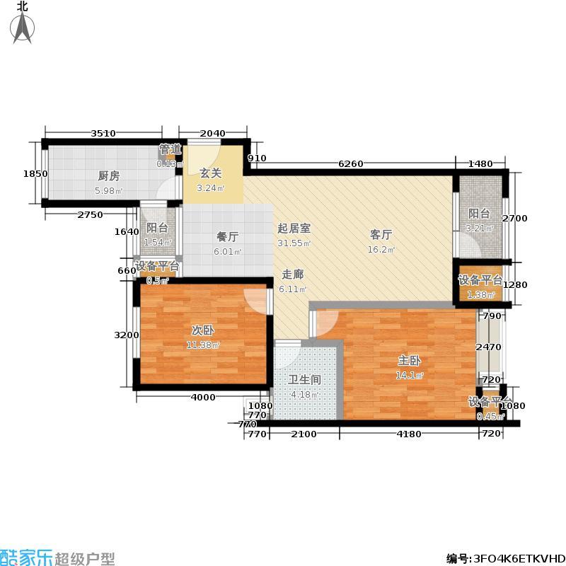 8哩岛89.00㎡8哩岛户型图L户型两室两厅一卫(2/8张)户型10室