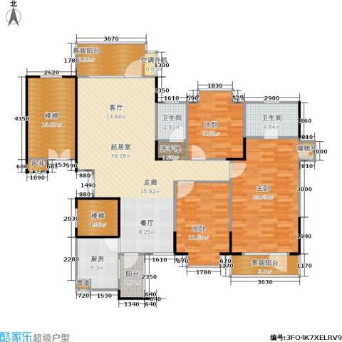 岳麓现代城3室0厅2卫1厨133.00㎡户型图
