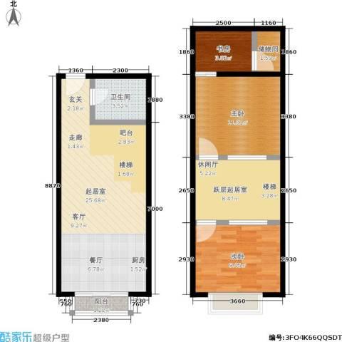 UP生活3室0厅1卫0厨64.76㎡户型图