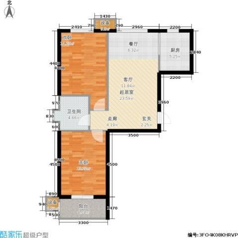 北里洋房2室0厅1卫1厨87.00㎡户型图